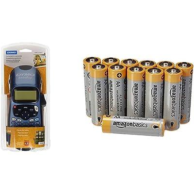 Dymo LetraTag LT-100H - Impresora de etiquetas, color azul (versión española) + AmazonBasics - Pilas alcalinas AA 'Performance' (Paquete de 12) - Diseño variable