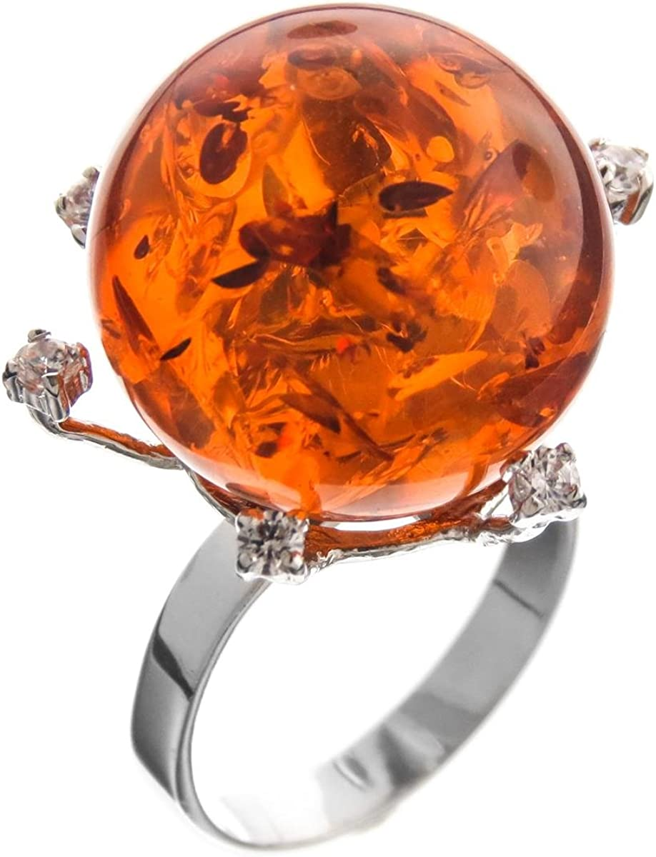1 14 Gorgeous Amber Cz Gems 925 Sterling Silver Us 6 Cocktail Ring