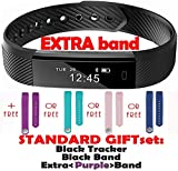 Trendy Pro Fitness Tracker with 2 Bands for Android and iOS - Black Tracker and color band (Purple)