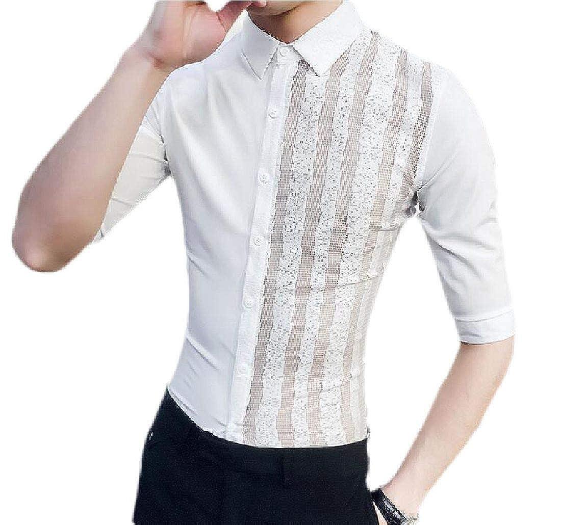 JXG Men Button Up Casual Slim Fit Short Sleeve Shirt