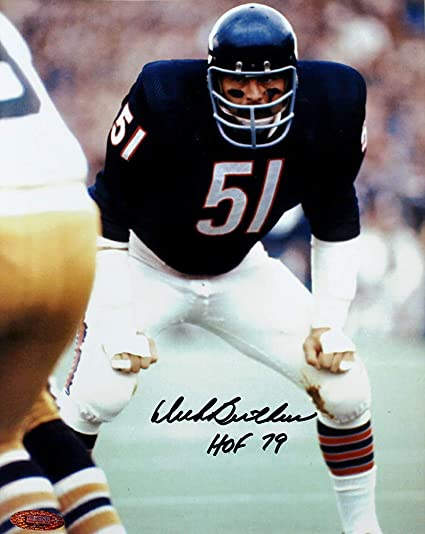 buy popular 2b9f2 41098 Dick Butkus Signed Autographed Chicago Bears Hands on Knees ...