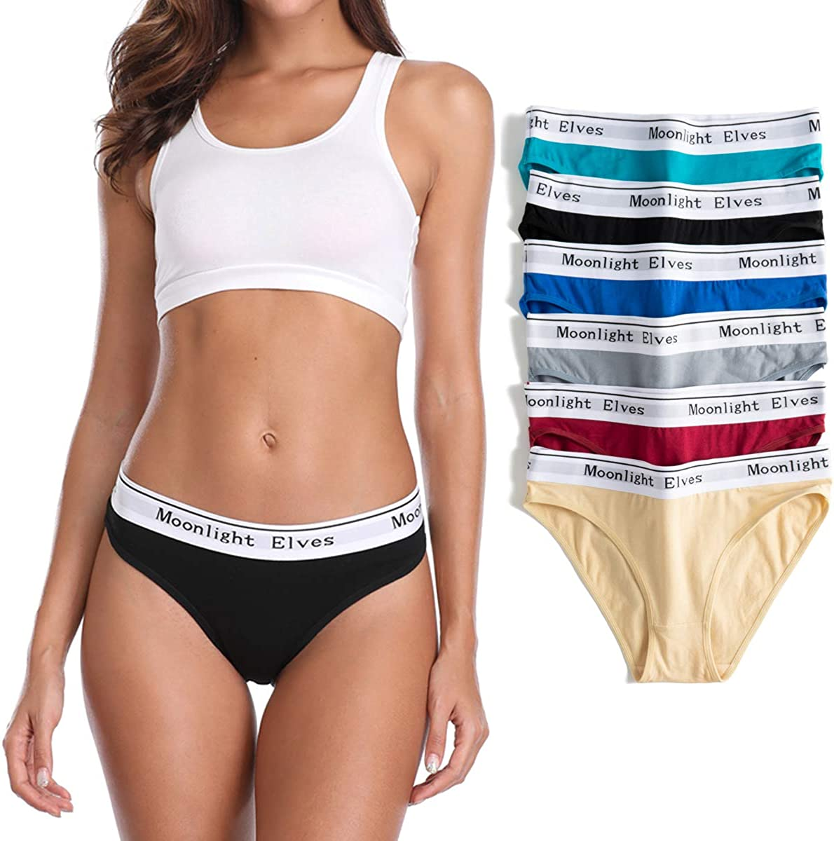 moonlight elves Womens Cotton Underwear Hipsters Panties-Briefs Panty Pack of 4//6//8