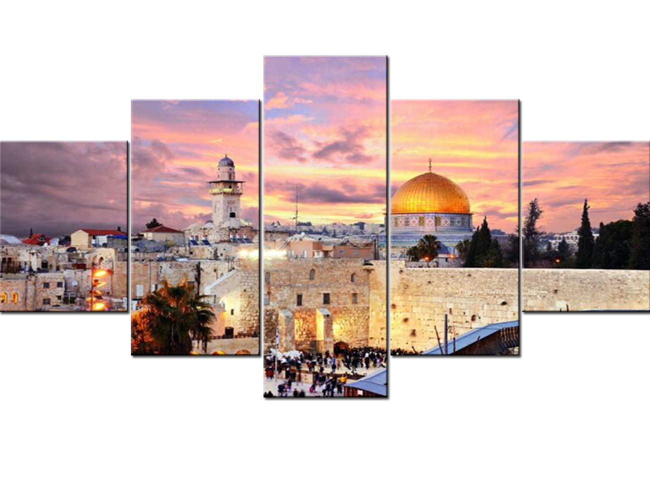 Jerusalem Poster Prints on Canvas 5 Pcs/Multi Panel Wall Art Home Decor for Living Room Israel Paintings Contemporary Pictures Modern Artwork Giclee Wooden Framed Ready to Hang(60''Wx32''H)