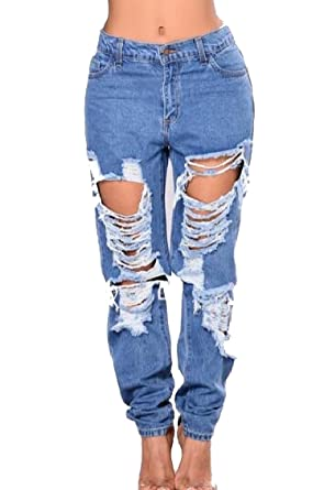 ed6bb129d9e Yayu Women High Waist Hip Hop Chic Soft Jean Baggy Ripped-Holes Stretcy  Pants at Amazon Women's Jeans store