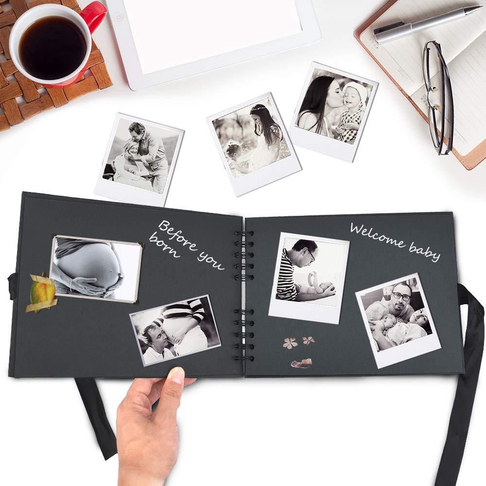 Scrapbook Album DIY Handmade 10x7 Inch Black Page Scrapbooks Scrap Book for Anniversary Travelling Baby Shower Christmas Gift