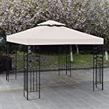 gazebo curtains 12x14 10' X 10' Gazebo Top Cover Patio Canopy Replacement 1-Tier or 2-Tier 3 Color Protection Against UV Rays From Sun Brand New (2 Tier Beige)