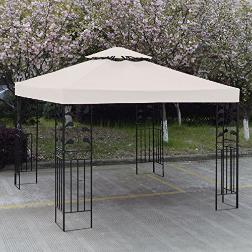 10' X 10' Gazebo Top Cover Patio Canopy Replacement 1-Tier or 2-Tier 3 Color Protection Against UV Rays From Sun Brand New (2 Tier Beige)