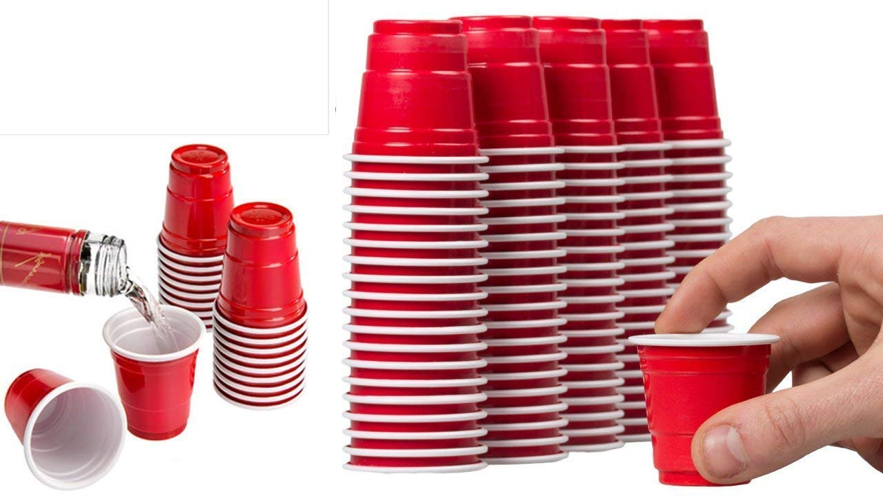 Red Shot Glasses - Mini Solo Cups (150 Bulk Red Cups) - Plastic Shot Cups - Jello Shots - Jager Bomb Cups - Beer Pong - Perfect for Serving Condiments, Nuts and Samples - Red Shot Cups by TopNotch Outlet