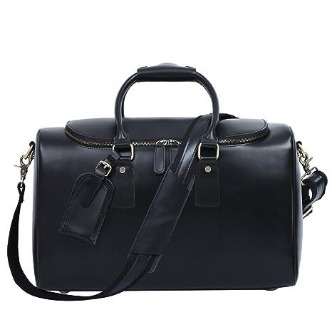 Leathario bolso de viaje para hombre de piel sintética de cuero genial equipaje  de mano bolso 6c1096f61d79