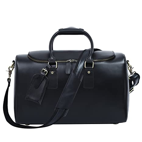Amazon.com | Leathario Mens Genuine Leather Overnight Travel Duffle Weekend Bag (Black-112) | Travel Duffels