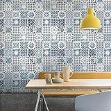Grandeco Porto Floral Pattern Wallpaper Baroque Motif Kitchen Bathroom (Blue A22903)