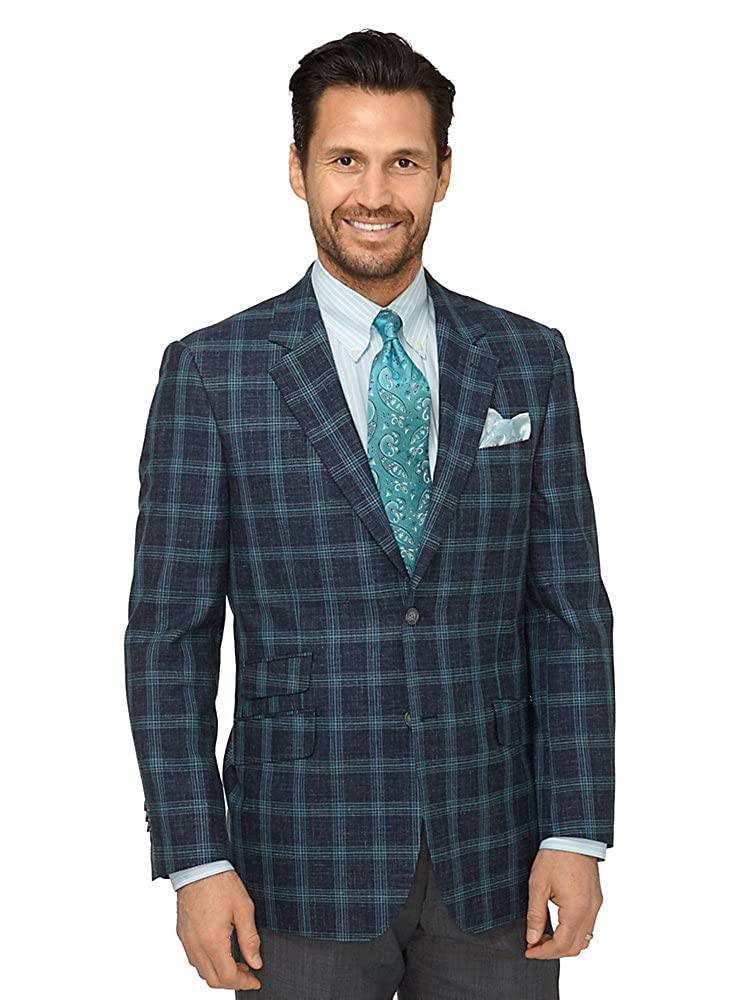 Paul Fredrick Men's Wool, Silk \ Linen Windowpane Sport Coat Paul Fredrick Men's Wool JSN140W401R38