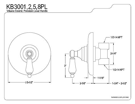 Kingston Brass Kb3001pl Volume Control Polished Chrome