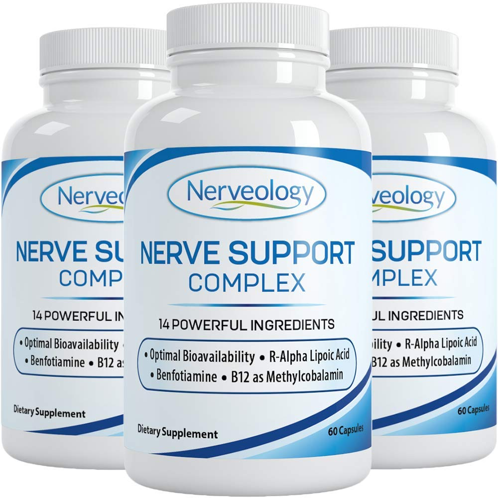 Nerveology - Nerve Support Complex - Clinically Proven Forms of B Vitamins, stabilized R-Alpha Lipoic Acid and L-Carnitine Tartrate - 60 Capsules 1 Month Supply per Bottle (3 Pack)