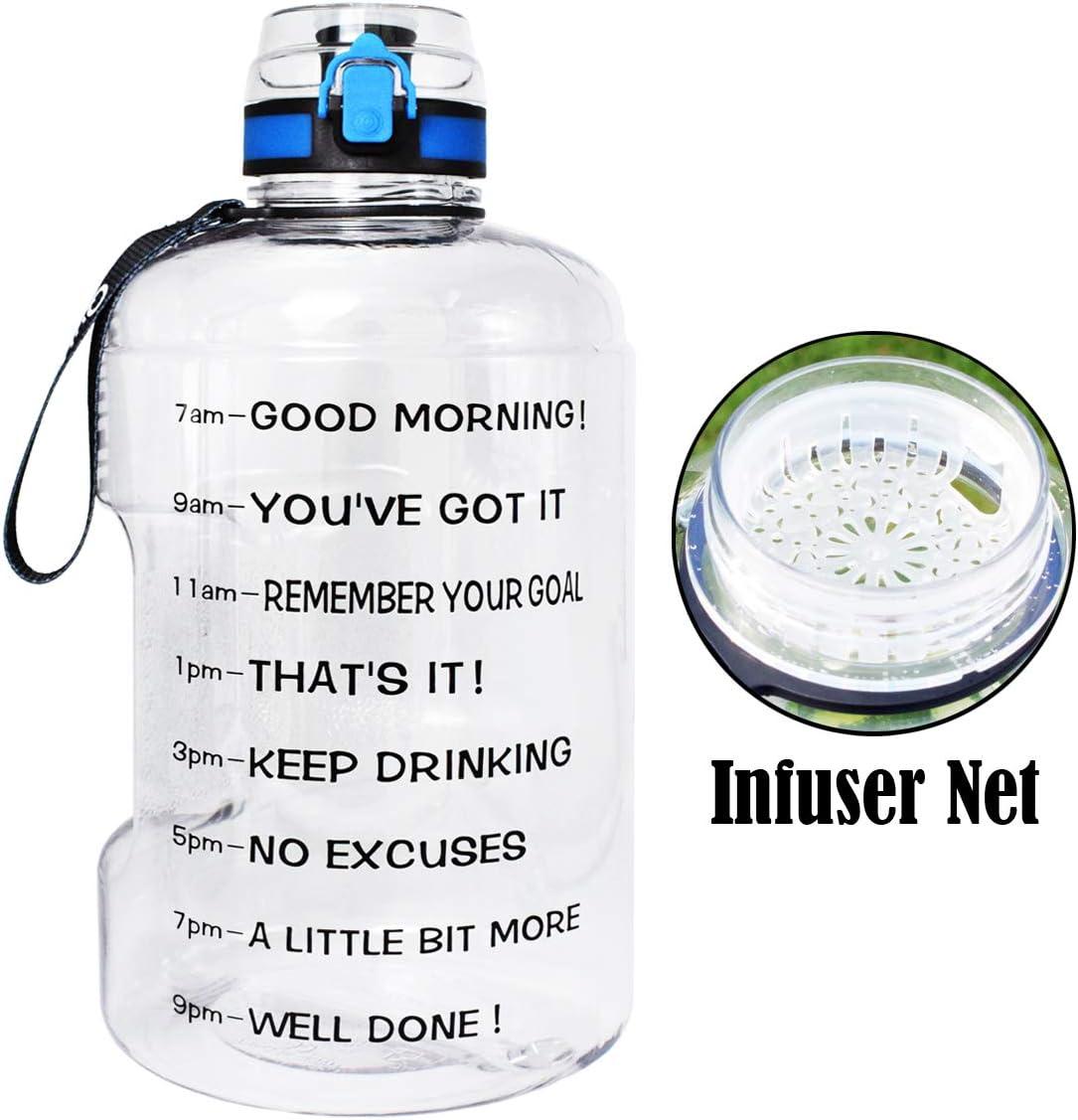 BuildLife - Botella de Agua para Gimnasio, Boca Ancha, 3,78 L/2,2 L, con Tiempo para Beber, Gran Capacidad Libre de BPA para Objetivos de Fitness y Actividades al Aire Libre