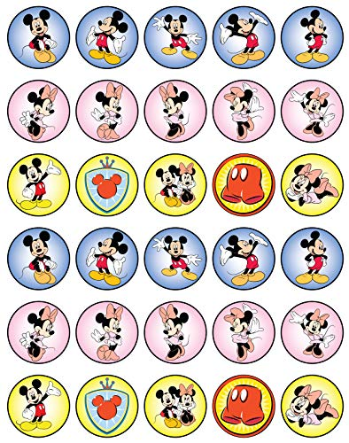 30 x Edible Cupcake Toppers - Minnie Mouse
