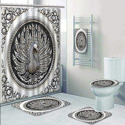 Philip-home 5 Piece Banded Shower Curtain Set Frame Engraving Silver Lacquer Plate Show Peacock Animals in Mythology fine Global craftsthai Pattern Adornment by Philip-home