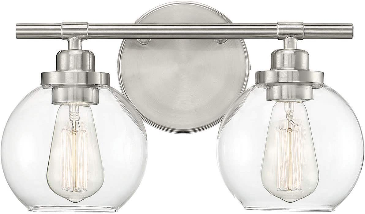 "Savoy House 8-4050-2-SN Carson Satin Nickel 2-Light Bathroom Vanity Light (14"" W x 9""H)"