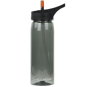 ecovessel Wave – plástico Tritan Deportes Botella de Agua con Pajita – 25 onzas
