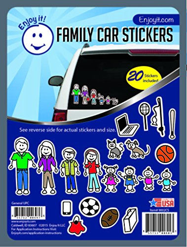 Enjoy It Color Accents Family Car Stickers Stick Figure Family, 20 Pieces, Outdoor Rated Vinyl Sticker Decals (Stick Figure Window Decals)