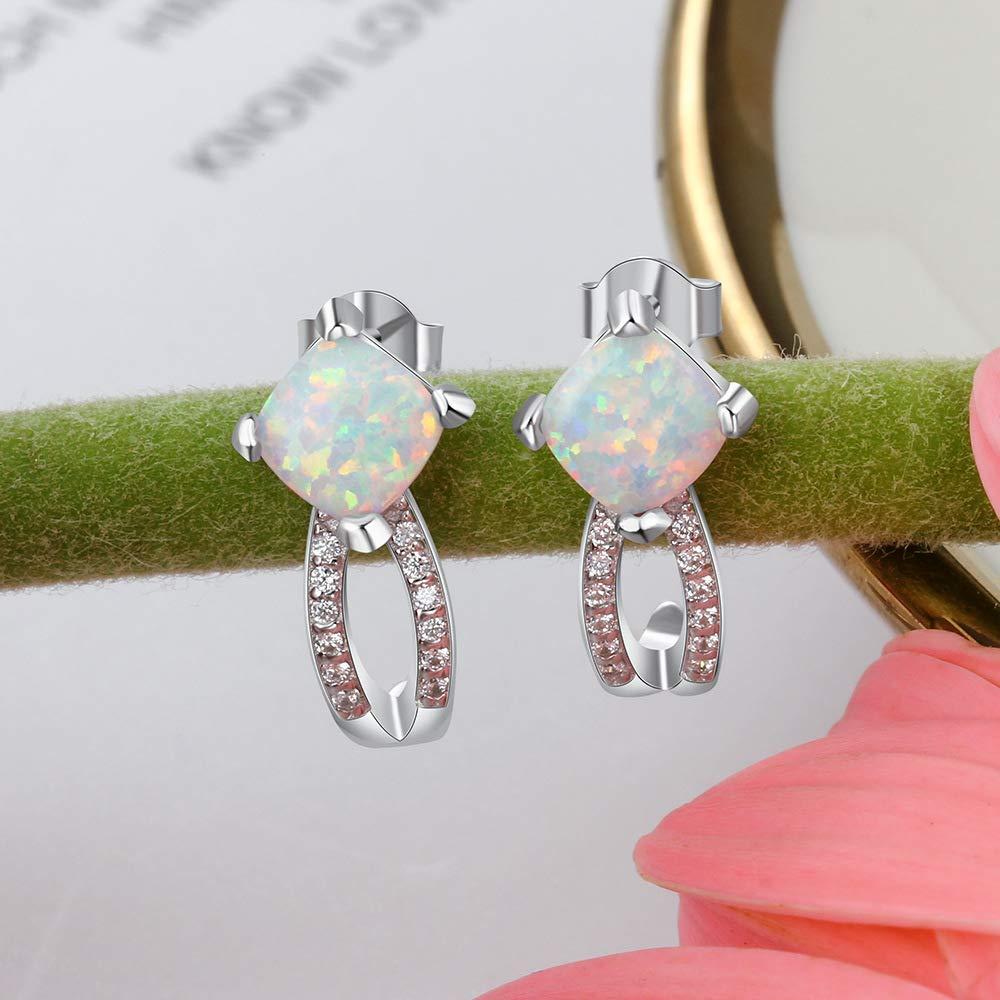 YAZILIND Silver Plated Earrings Square Shape Opal Drop Dangle Earrings Women Girls Birthday Party Jewellery Gift