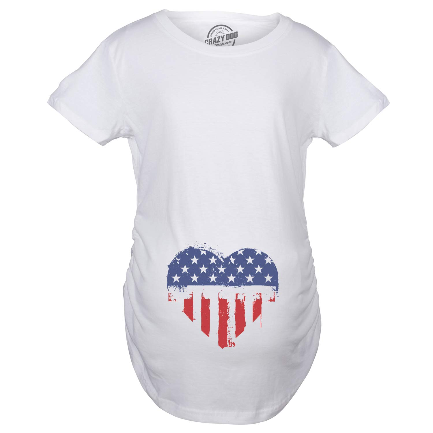 a3bb361bfe4ab Crazy Dog T-Shirts Maternity USA Heart American Flag Announcement Funny  Pregnancy T Shirt at Amazon Women's Clothing store:
