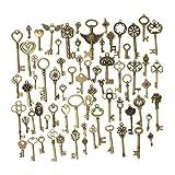 SODIAL(R) Set of 69 Antique Vintage Old Look Bronze Skeleton Keys Fancy Heart Bow Pendant