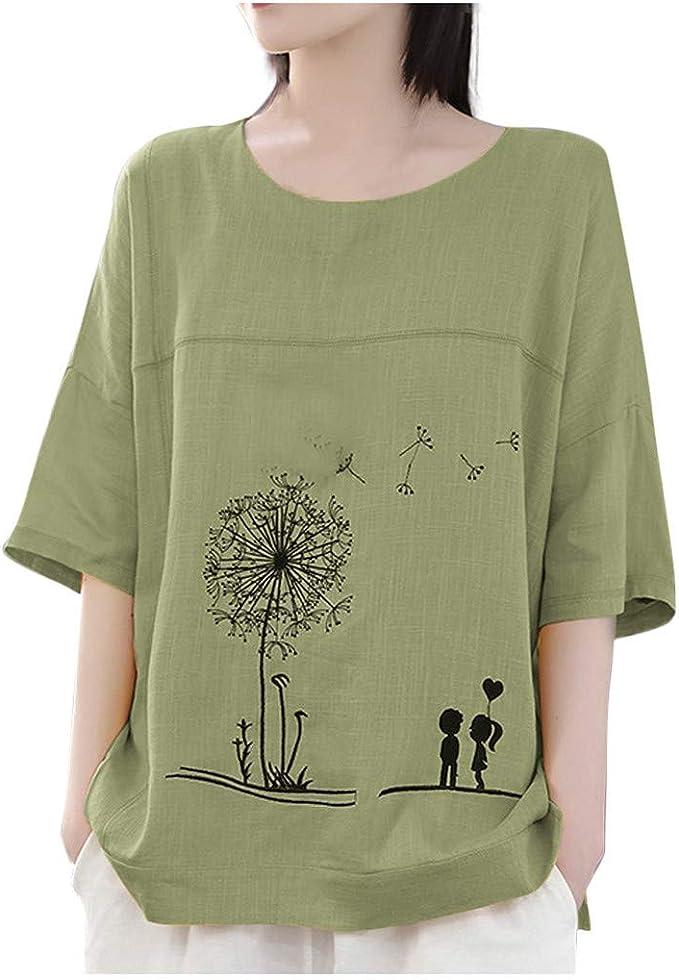 Women Plus Size Half Sleeve Cotton Linen Hollow Out Lace Patchwork Blouse Tops Bell Sleeve Oversized T-Shirt LIM/&Shop