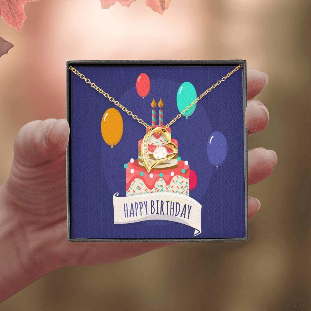 Birthday Cakes and Balloons Birthday Card Forever Love Necklace-CZ Heart Pendant Stainless Steel or 18k Gold