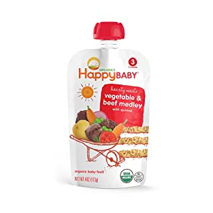 Happy Baby Stage 3 Organic Hearty Meals, Vegetable and Beef Medley, 4 oz