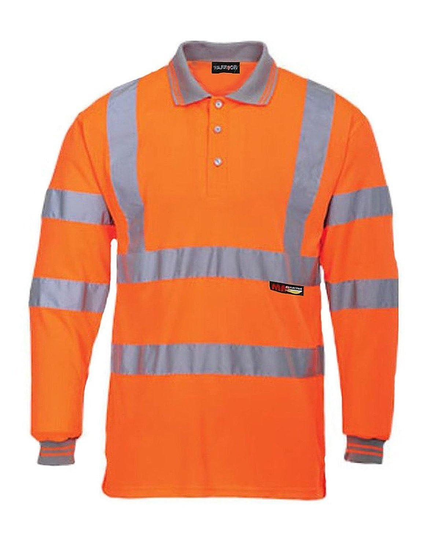 Forever Mens Long Full Sleeve Polo Collar T Shirt Hi Viz Reflective