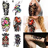Supperb 6-pack Temporary Tattoo Skull Tattoo Fish Tattoo 3d mechanical Dragon Tattoo