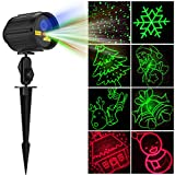 Fiery Youth Christmas Projector Lights Laser Lights Laser Show Star Light Shower RF Wireless Remote RED Green & Blue LED Waterproof for Xmas, Holiday, Parties and Garden Decoration