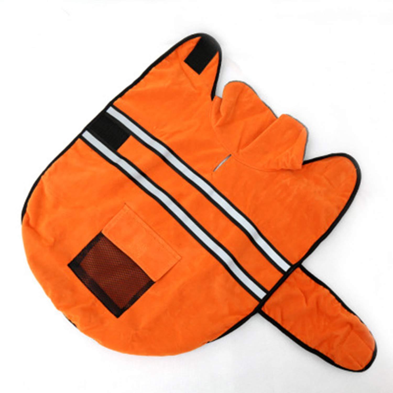orange Large orange Large Pet Clothing Autumn and Winter Dog Clothes golden Retriever Labrador Medium and Large Dogs Reflective Tape Dog Coat