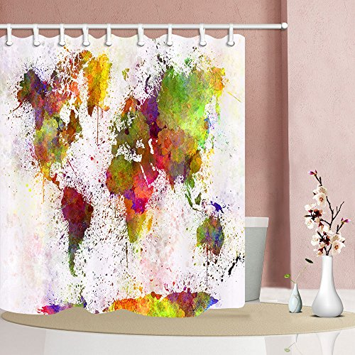 NYMB Urban Color World Map 69X70in Mildew Resistant
