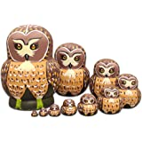 Moonmo 10pcs Brown Owl Handmade Wooden Russian Nesting Dolls Matryoshka Dolls Set