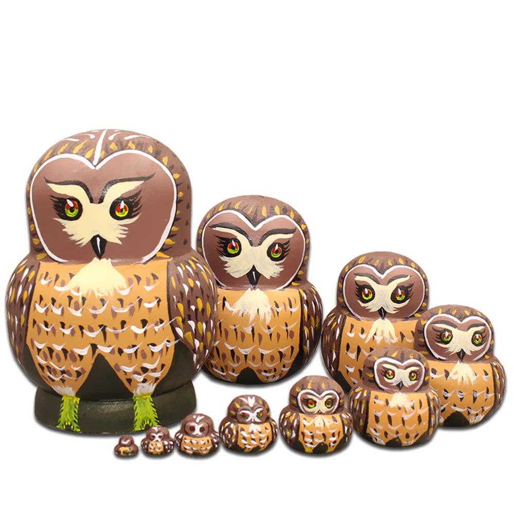 Moonmo 10pcs Cute Vivid Big Belly Shape Brown Owl Handmade Wooden Russian Nesting Dolls Matryoshka Dolls by Moonmo