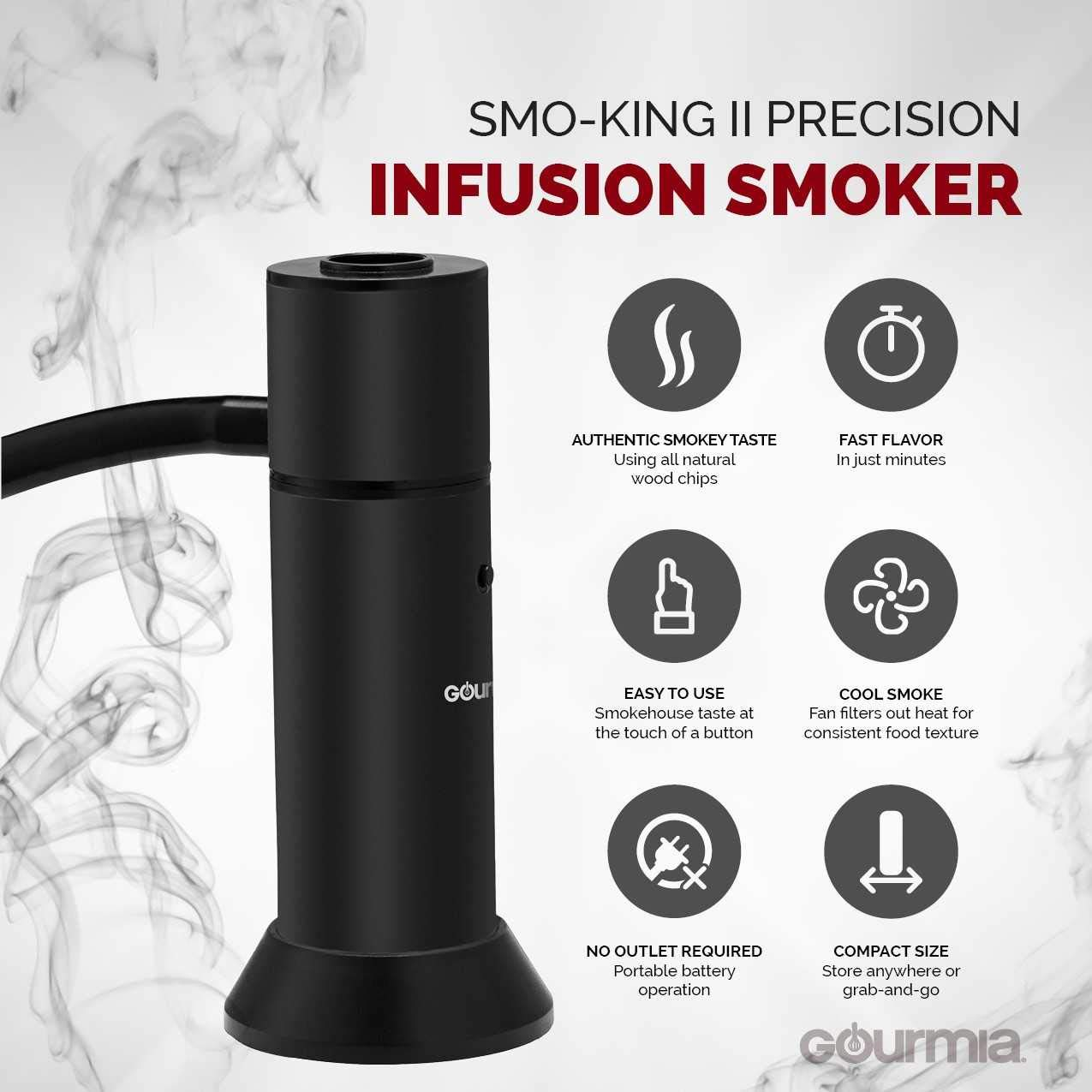 Gourmia GSM220 Portable Infusion Smoker Cool Smoke to Enhance Taste - Battery Operated - Compact & Convenient - Free E-Recipe Book Included by Gourmia (Image #3)