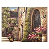 Yosemite Home Decor ARTAA1306 Floral Villa Townscape Painting