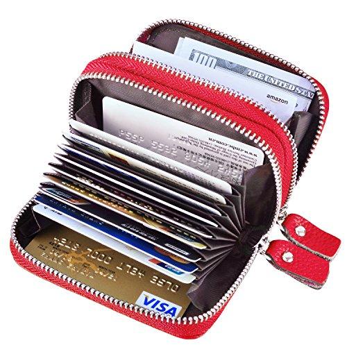 Women Slim Passport Card Holder Wallet (Red) - 3