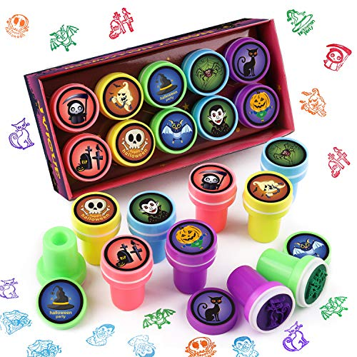JVIGUE Halloween Stamps Assorted Stamps with 10 Different Design Plastic Stamps for Halloween
