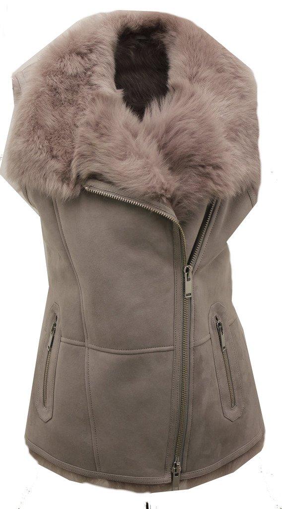 Women's Luxurious Short Grey Suede Toscana Fur Sheepskin Gilet S