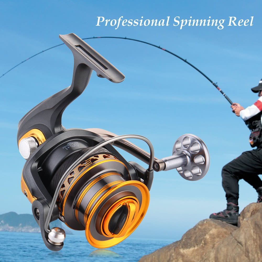 AppleLand 13+1BB Ball Bearings Professional Fishing Reel Long Distance Surfcasting Reel Left/Right Convertible Collapsible Handle Spinning Reel Fishin by AppleLand