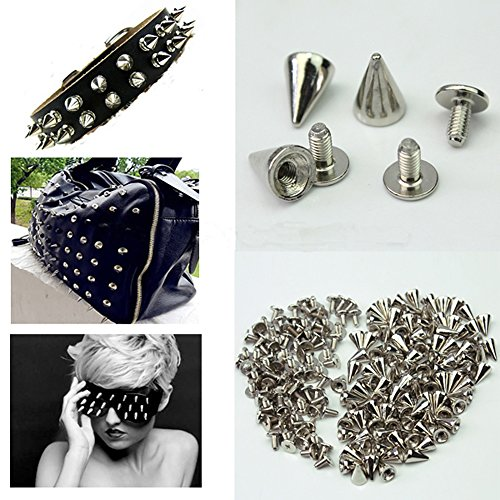 YoYoflyer 100pcs 10mm Length Silver Cone Metal Studs Rivet Spikes Screw for Punk Gothic Style Clothes Shoes Bag Leather DIY Rivets