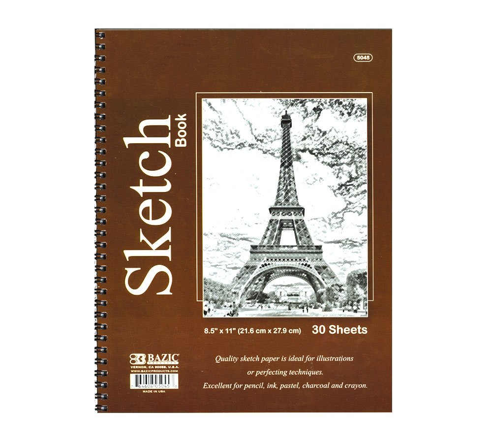 BAZIC 30 Ct. 8.5'' X 11'' Side Bound Spiral Premium Sketch Book, Case of 48 by BAZIC