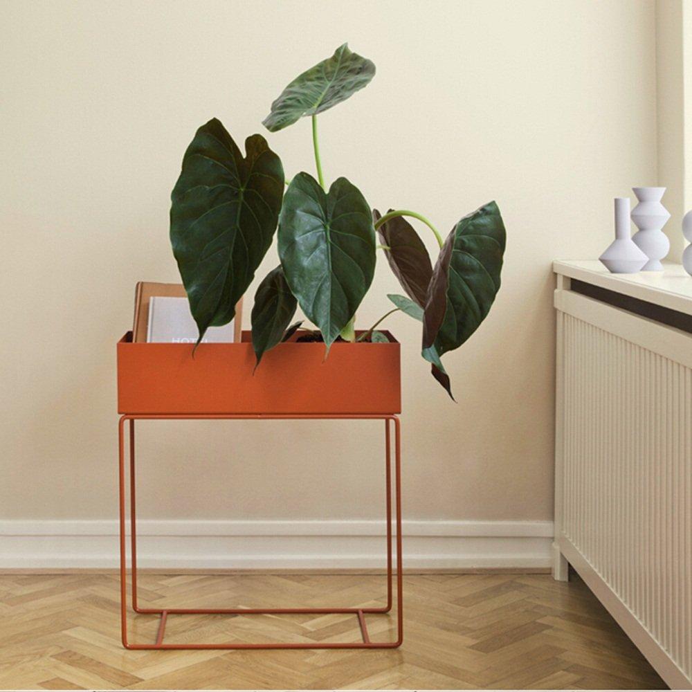 Simple modern shelf / balcony flower pot indoor and outdoor living room iron flower stand / creative window floor flower pot rack ( Color : Orange , Size : 6075cm ) by Flower racks