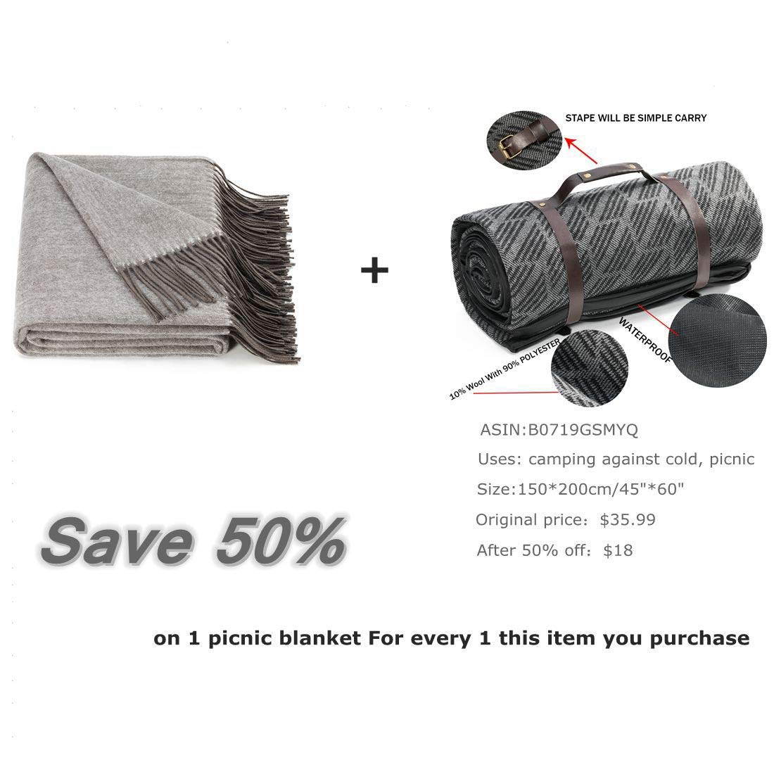 SPENCER&WHITNEY Picnic Blanket Waterproof 10% Wool/90% POLYESTER Fleece Picnic Blanket All-Purpose Water Proof Picnic Blanket Outdoor