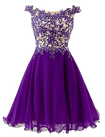 976c63f5512 Off The Shoulder Homecoming Dresses Lace Beaded Short Prom Party Gowns for  Juniors Purple US 2