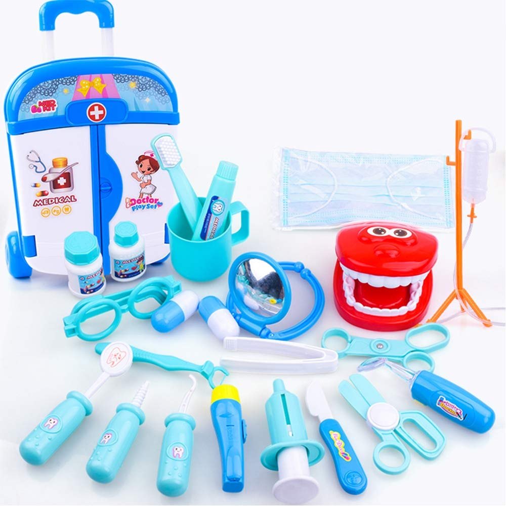 Children's Puzzle Play House Doctor Toy 24 Piece Set Doctor's Trolley Case Medicine Box Set Medical Equipment Package,Blue