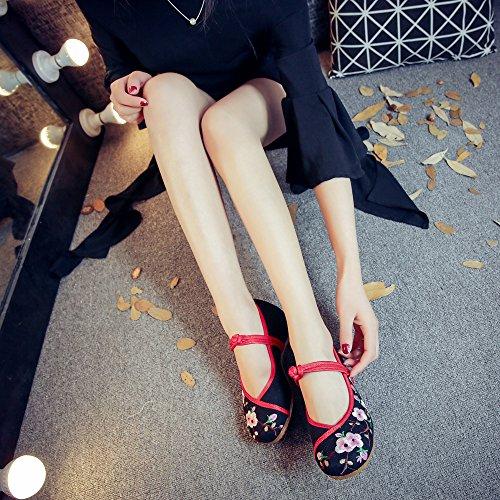 suola Scarpe tendina casual all'interno xiuhuaxie da scarpe ricamate black comodo GuiXinWeiHeng dell'aumento etnico stile moda a donna 5twUXwOq